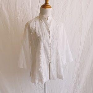 Tops - Spanish 100% Cotton Pintuck Edwardian Style Blouse
